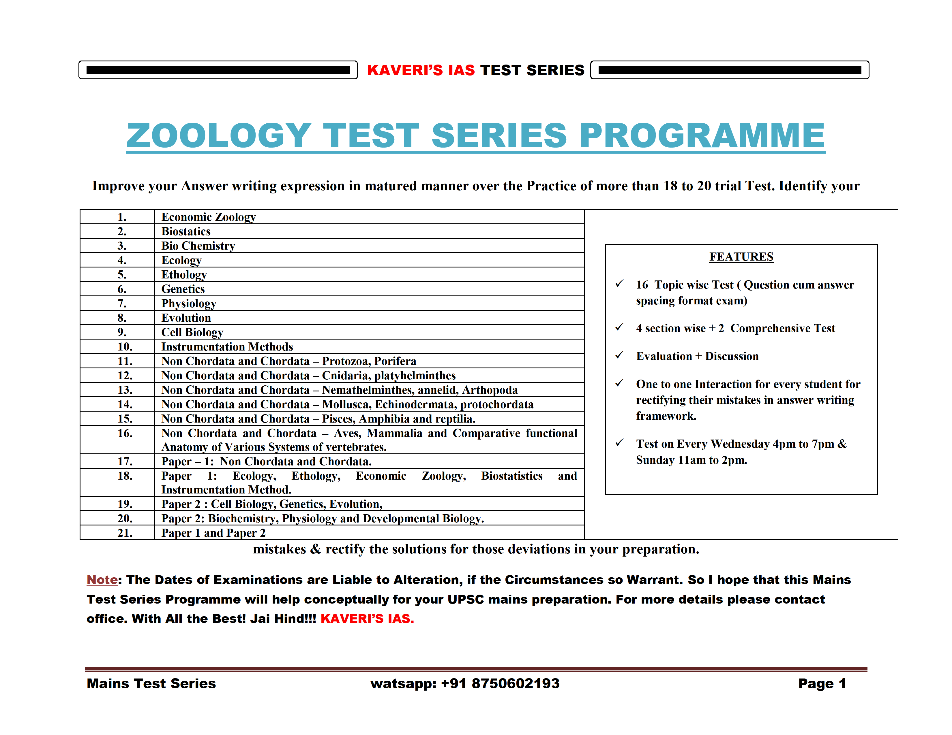 Timetable for Zoology Mains Optional